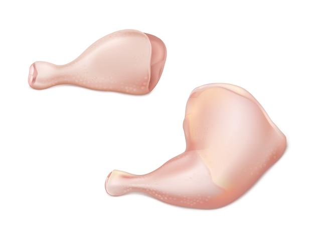 Realistischer vektor des rohen fleisches des geflügels 3d mit teilen des huhns oder des hinteren teils des truthahns als trommelstock und schenkel lokalisiert auf weißem hintergrund. grillen, appetitliche bestandteile der proteindiät eingestellt Kostenlosen Vektoren