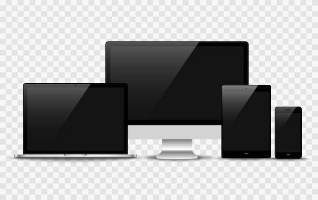 Realistischer vektor. gerätesatz: laptop-, tablet- und telefonvorlage überwachen Premium Vektoren