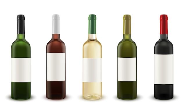 Realistischer vektorsatz weinflaschen verschiedene farben des glases. Premium Vektoren
