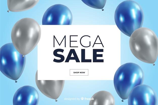 Realistischer verkaufshintergrund mit ballonen Kostenlosen Vektoren