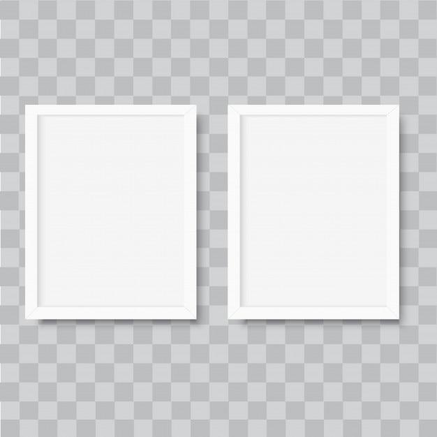 Realistischer vertikaler weißer fotorahmen Premium Vektoren