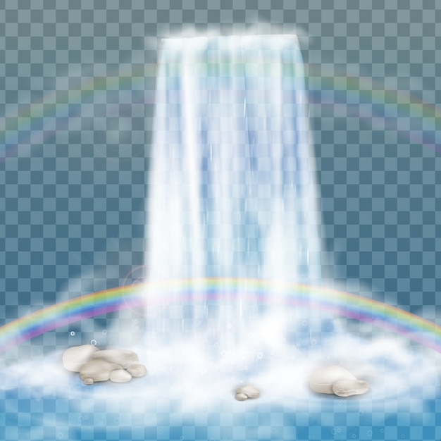 Realistischer wasserfall mit klarem wasser, regenbogen und blasen. natürliches element für designlandschaftsbilder. auf transparentem hintergrund isoliert. Premium Vektoren