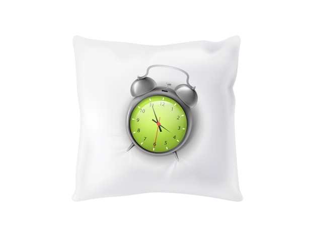 Realistischer wecker 3d auf weißem weichem kissen. schlafendes konzept lokalisiert auf hintergrund. Kostenlosen Vektoren