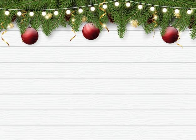 Realistischer weihnachtshintergrund für grußkarte Premium Vektoren