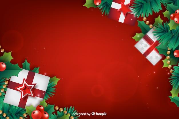 Realistischer weihnachtshintergrund mit geschenkboxen Kostenlosen Vektoren
