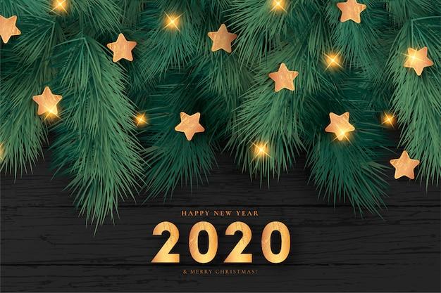 Realistischer weihnachtshintergrund mit goldenen sternen Kostenlosen Vektoren