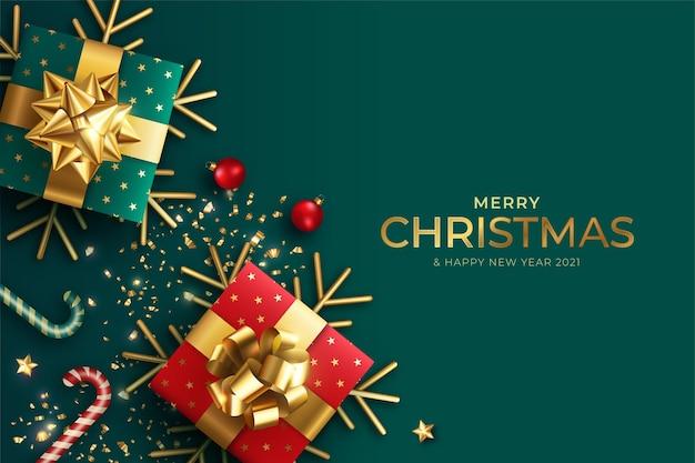 Realistischer weihnachtshintergrund mit roten und grünen geschenken Kostenlosen Vektoren