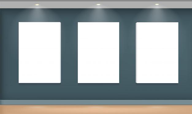 Realistischer weißer bilderrahmen an der wand Premium Vektoren