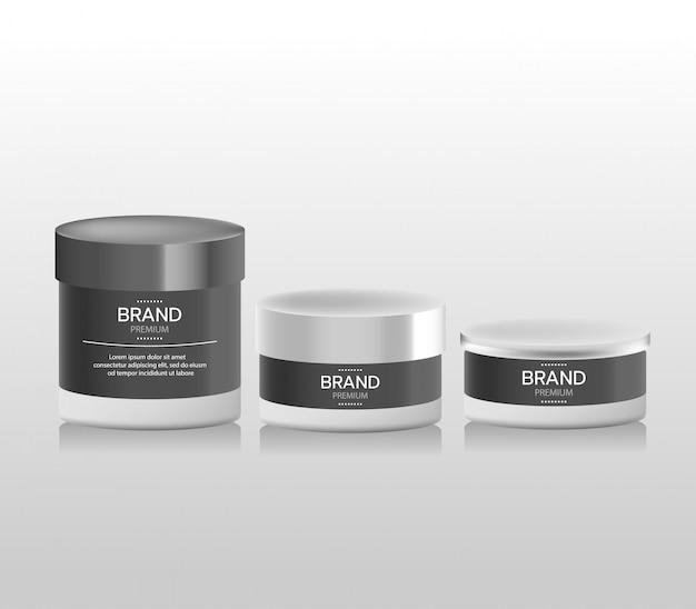 Realistischer weißer kosmetikcremebehälter und -schlauch für creme, salbe, zahnpasta, lotion Premium Vektoren