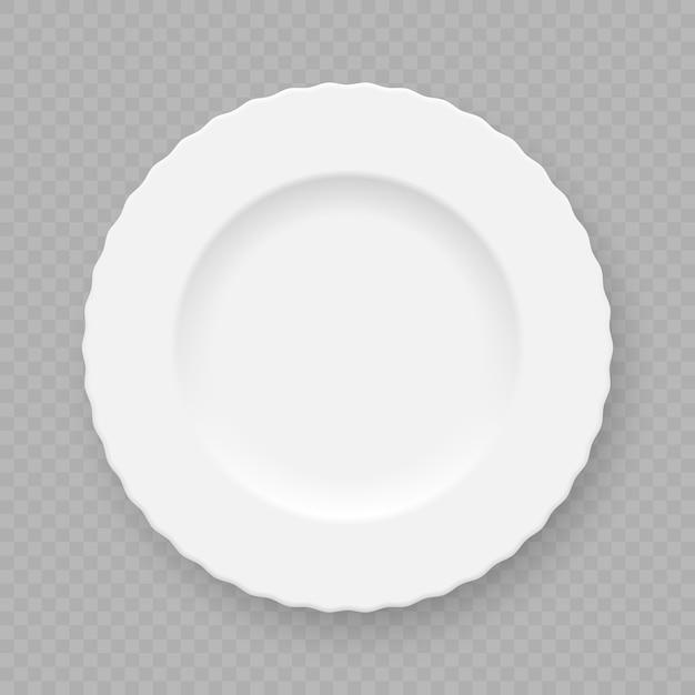 Realistischer weißer plattenteller lokalisiert Premium Vektoren