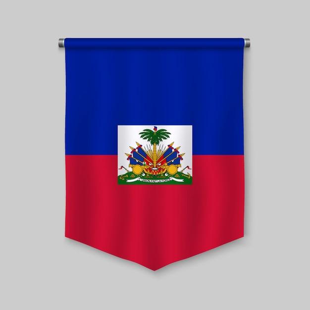 Realistischer wimpel 3d mit flagge von haiti Premium Vektoren