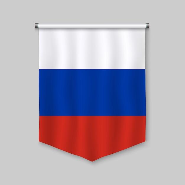 Realistischer wimpel 3d mit flagge von russland Premium Vektoren