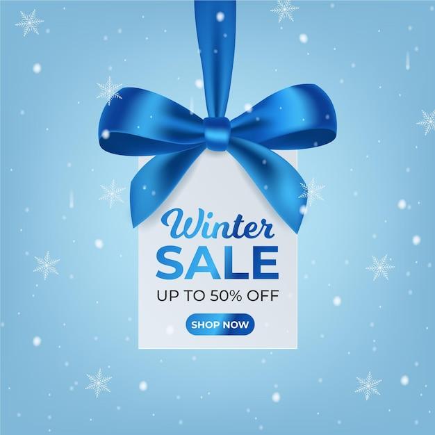 Realistischer winterschlussverkauf Premium Vektoren