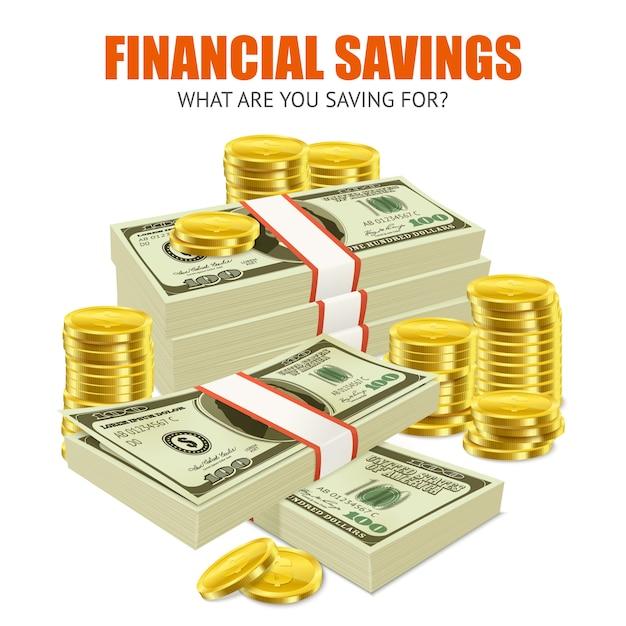 Realistisches anzeigenzusammensetzungsplakat der finanziellen einsparungen Kostenlosen Vektoren