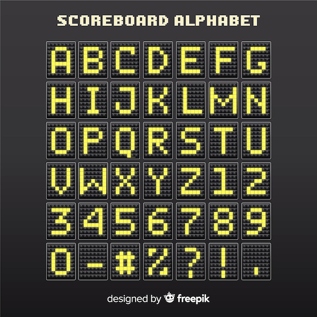 Realistisches anzeiger-stil-alphabet Kostenlosen Vektoren
