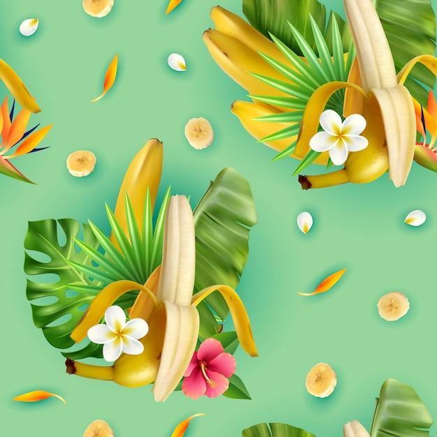 Realistisches bananenmuster mit zusammensetzungen von tropischen blättern der bananenfrucht blumen und scheiben mit türkis Kostenlosen Vektoren