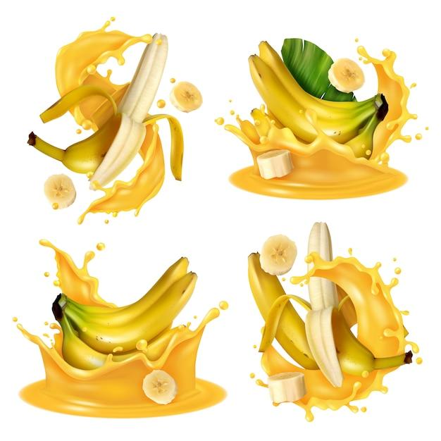 Realistisches bananensaftspritzen stellte mit vier lokalisierten bildern von den bananenfrüchten ein, die in gelbe flüssigkeit schwimmen Kostenlosen Vektoren