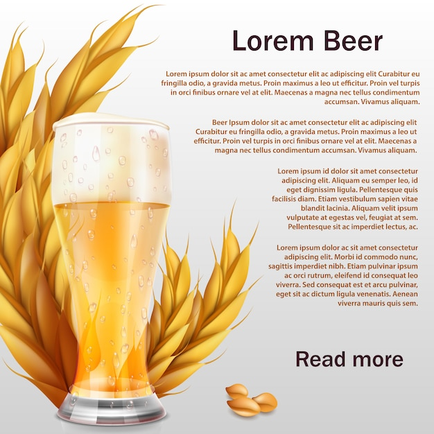 Realistisches bierglas mit den ohren der getreideschablone Premium Vektoren