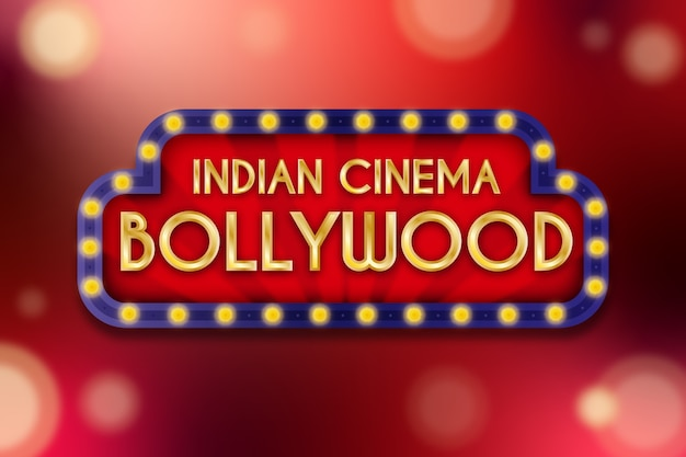 Realistisches bollywood-kinozeichenkonzept Kostenlosen Vektoren