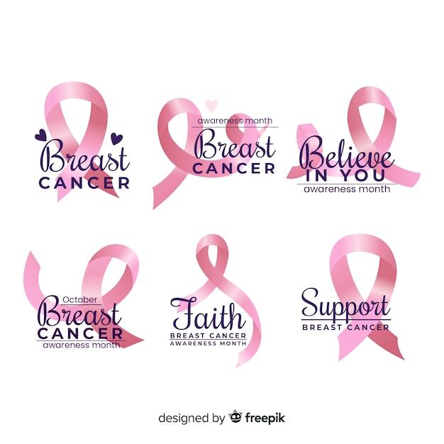 Realistisches brustkrebs-bewusstseinsabzeichen Kostenlosen Vektoren