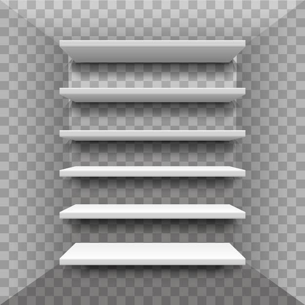 Realistisches bücherregal. schaufensterregale aus sperrholzrahmen im lebensmittelgeschäft. platz für eine ausstellung. bücherregal, gestell, innenraum, regale Premium Vektoren