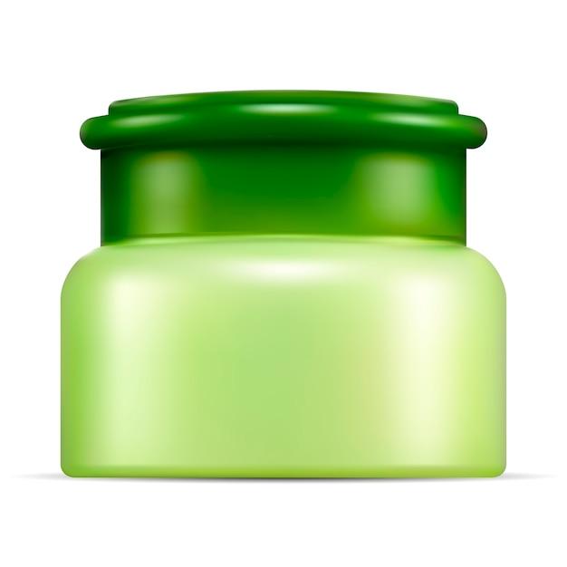 Realistisches cismetisches glasmodell. verpackung für sahne Premium Vektoren
