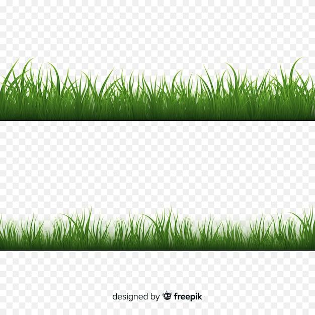 Realistisches design der grenze des grünen grases Kostenlosen Vektoren