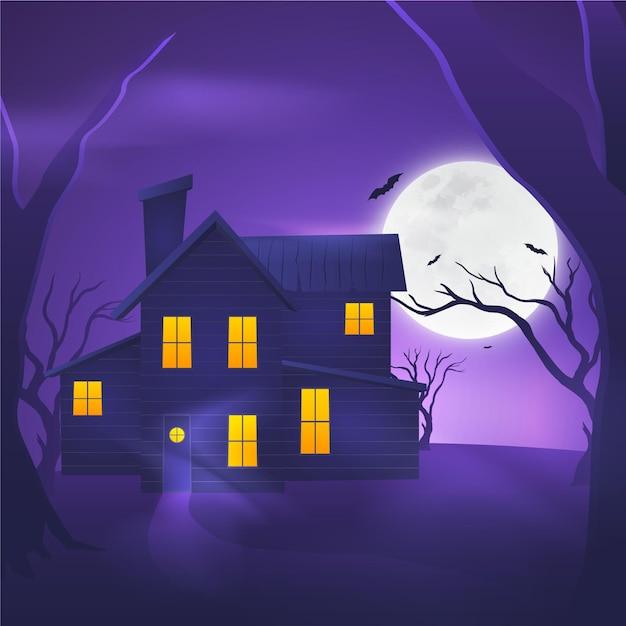 Realistisches design halloween haus Kostenlosen Vektoren