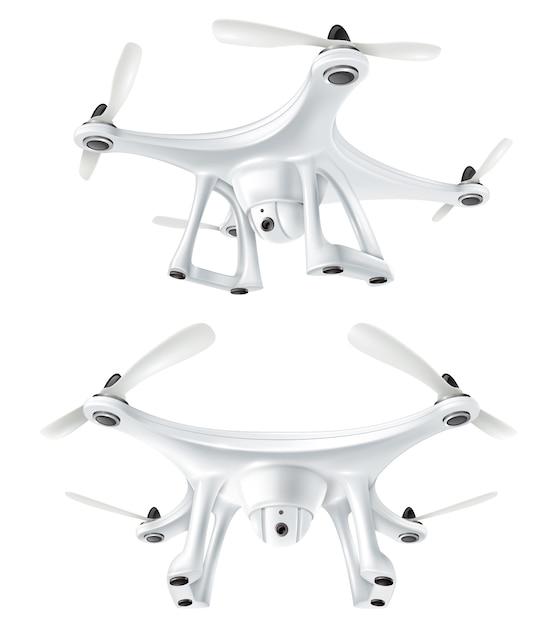 Realistisches drone quadcopter set Kostenlosen Vektoren