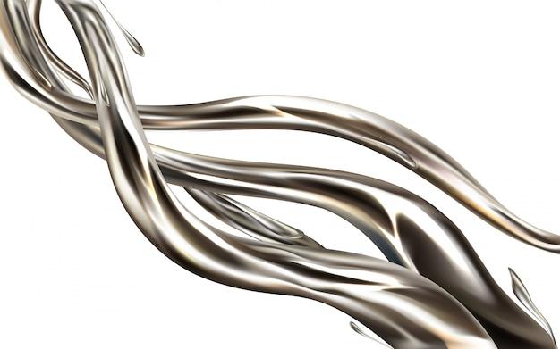 Realistisches element 3d des flüssigen metallstrahls lokalisiert auf weißem hintergrund. Kostenlosen Vektoren