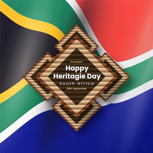 Realistisches erbe-tagesbild mit südafrikanischer flagge Kostenlosen Vektoren