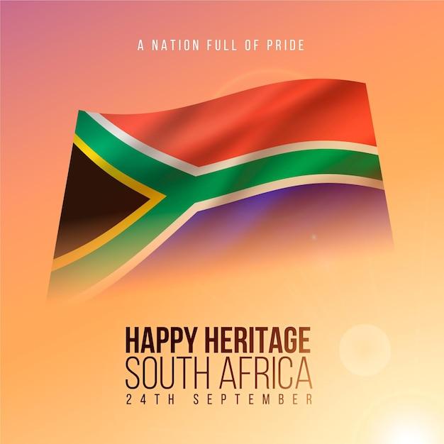 Realistisches erbe-tagesereignis mit südafrikanischer flagge Kostenlosen Vektoren