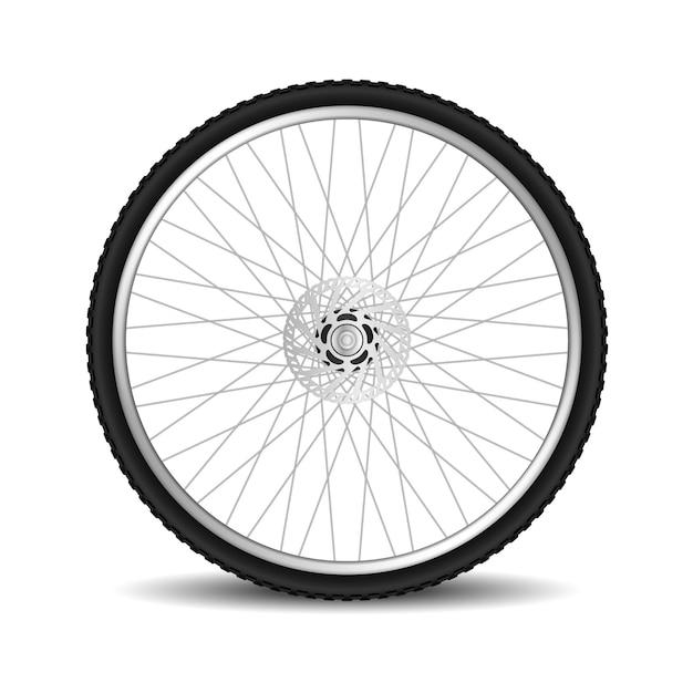 Realistisches fahrradreifenrad lokalisiert auf weiß Premium Vektoren