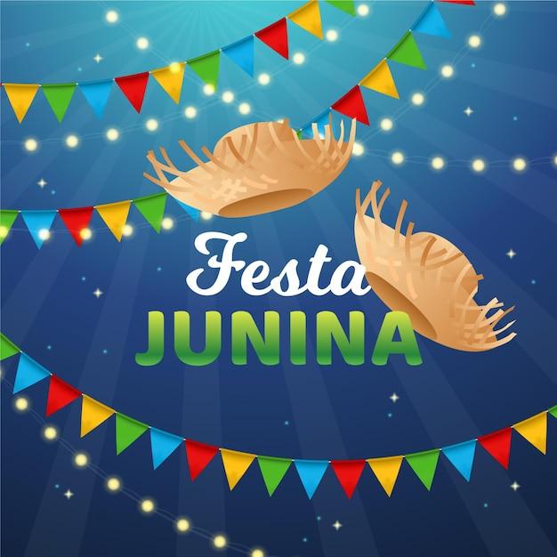 Realistisches festa junina-konzept Premium Vektoren
