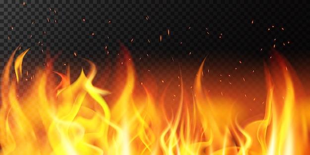Realistisches feuer. flame helle grenze, feurige funkelnde brennende fahne, heiße rote flammende dekoration hintergrundillustration. feuer und brennbare lagerfeuergrenze Premium Vektoren
