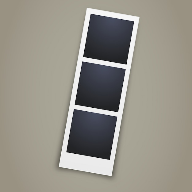 Realistisches fotokabinenbild auf grauem hintergrund Premium Vektoren