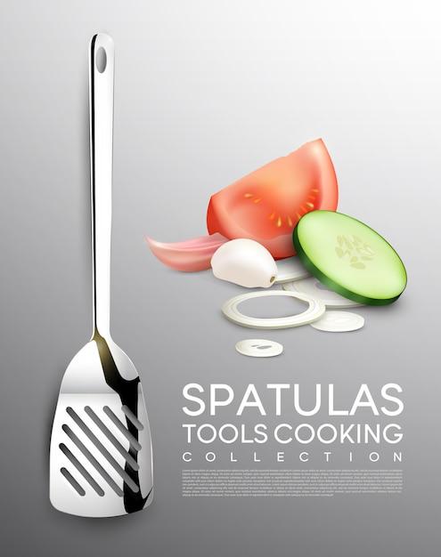 Realistisches gemüse- und küchenwerkzeugset mit spatel-tomaten-gurken-zwiebel Kostenlosen Vektoren