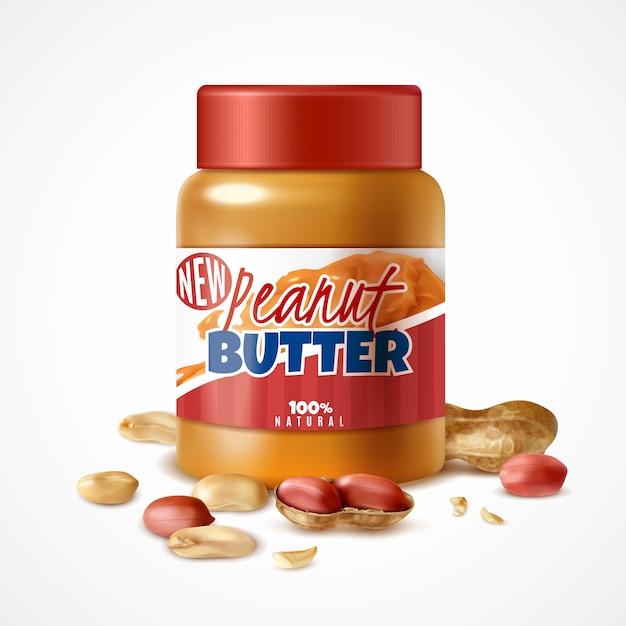 Realistisches glas erdnussbutterzusammensetzung mit eingebrannter dosenverpackung und reifen arachisnüssen mit schatten Kostenlosen Vektoren