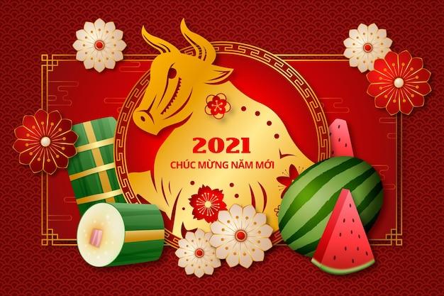 Realistisches glückliches vietnamesisches neues jahr 2021 Kostenlosen Vektoren