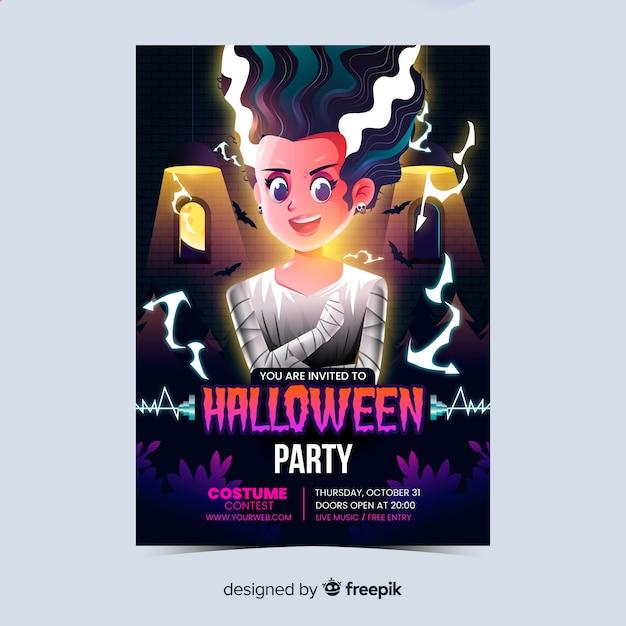 Realistisches halloween-partyplakat Kostenlosen Vektoren