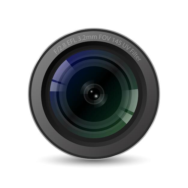 Realistisches hochwertiges kameraobjektiv mit weißem hintergrund Premium Vektoren