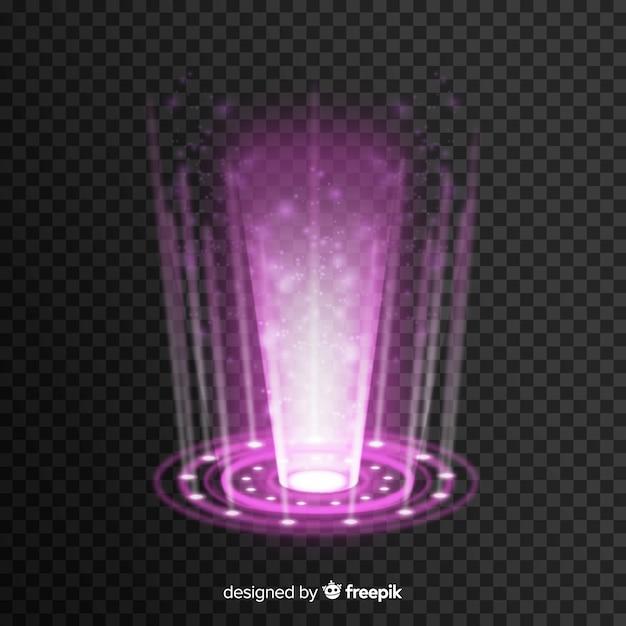 Realistisches hologramm eines portals Kostenlosen Vektoren