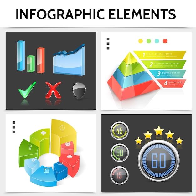 Realistisches infografikquadratkonzept mit pyramidengeschäftssymbolen diagramme balkeninformationsindikatoren häkchengraphen illustration Kostenlosen Vektoren
