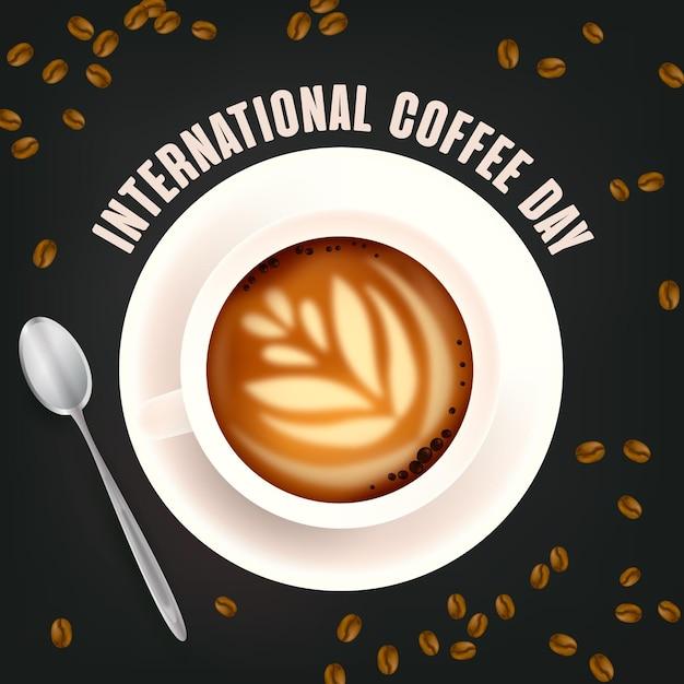 Realistisches internationales tag des kaffeekonzepts Kostenlosen Vektoren