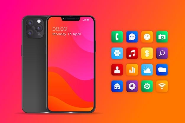 Realistisches iphone 11 mit apps in orangetönen mit farbverlauf Kostenlosen Vektoren