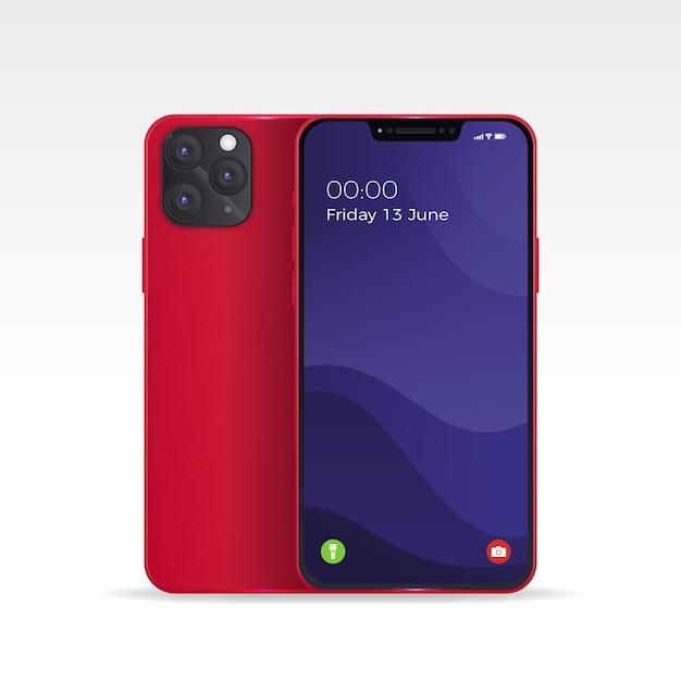 Realistisches iphone 11 mit fall des rotrückens und offenem telefon Kostenlosen Vektoren