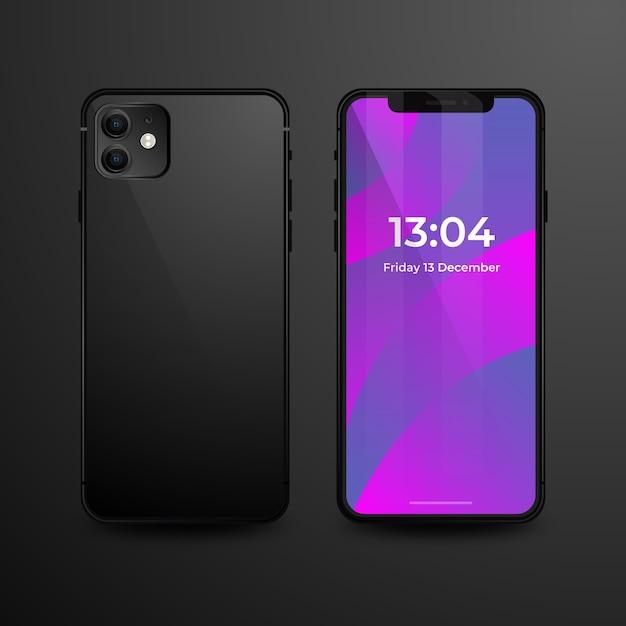 Realistisches iphone 11 mit schwarzer rückseitiger abdeckung Kostenlosen Vektoren