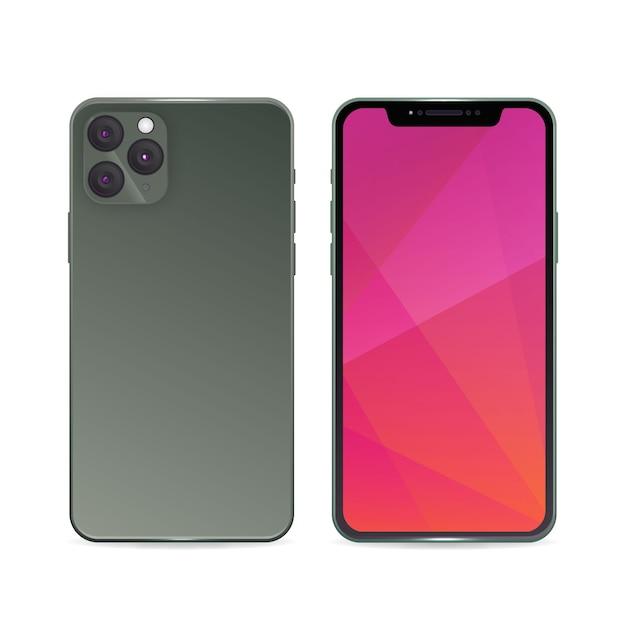 Realistisches iphone 11 mit steigungsgrau-rückseitenfall Kostenlosen Vektoren