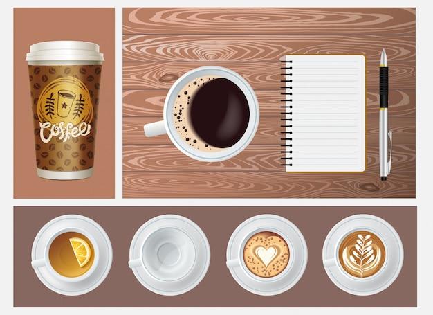 Realistisches kaffeekonzept mit papierbecher leeren becher tassen tee und kaffee-notizblock stift auf holzhintergrund Premium Vektoren