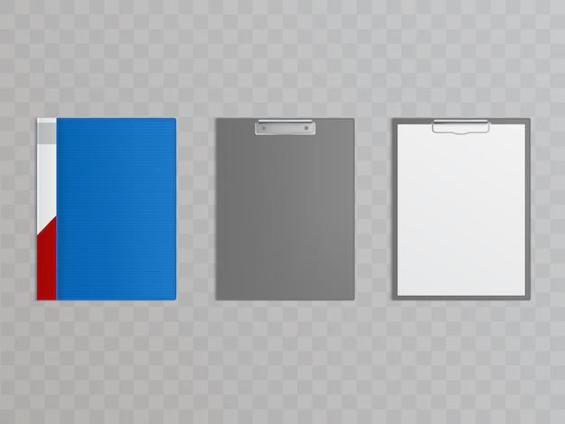 Realistisches klemmbrettset mit metallklammer zum halten von papieren, dokumenten. Kostenlosen Vektoren